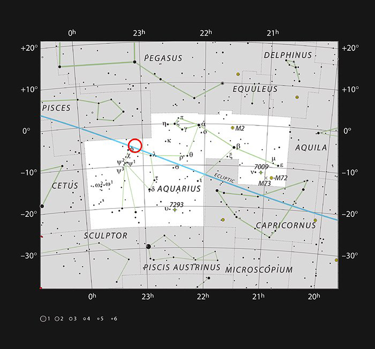 This chart shows the naked eye stars visible on a clear dark night in the sprawling constellation of Aquarius (The Water Carrier). The position of the faint and very red ultracool dwarf star TRAPPIST-1 is marked. Although it is relatively close to the Sun, it is very faint and not visible in small telescopes.